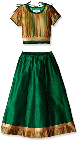Atayant Girl Lehenga Choli (ATAYK_036_3:4YR_Gold:Green_M)