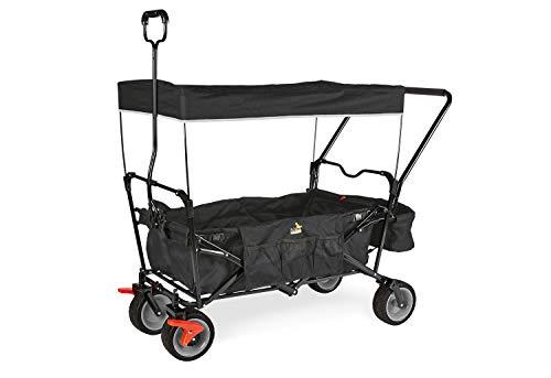 Pinolino Klappbollerwagen Paxi dlx Comfort mit Bremse, inkl. Sonnendach und Tragetasche, komfortabler Schiebegriff, Tragfähigkeit 70 kg, schwarz