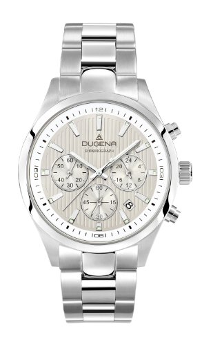 Dugena Men's Chronograph Quartz Watch with Multi-Colour Dial Chronograph Display and Silver Stainless Steel Bracelet