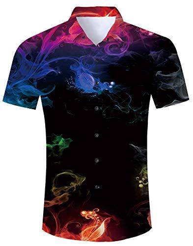 AIDEAONE Männer Farbiger Rauch Hawaiihemd Kurzarm Knopf Hemd Mode Plus Größe (Kinder Plus Größe)