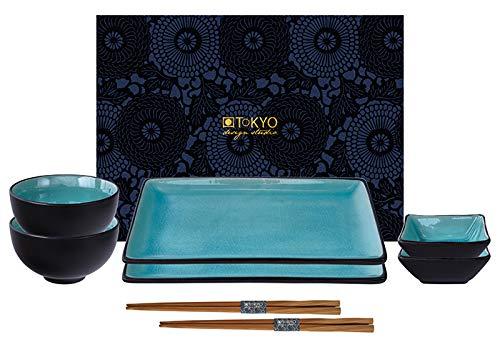 Tokyo design studio, glassy turquoise, set di 2 piastre + 2 coppe + 2ciotola di riso+ 2 bastoncini, 8 pz