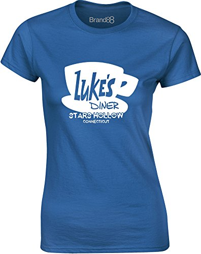 lukes-diner-mesdames-t-shirt-imprime-bleu-blanc-s-78-81cm