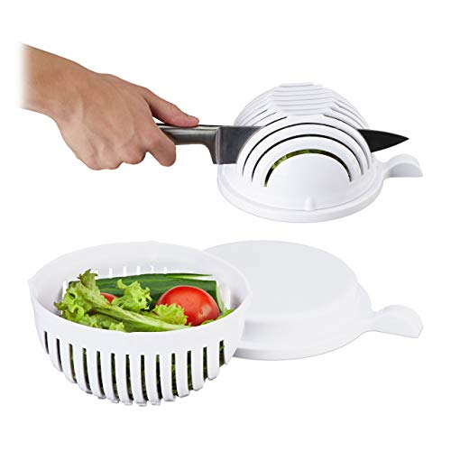 Relaxdays Salatschneider, Schüssel u. Deckel, BPA-frei, spülmaschinenfest, Gemüseschneider, Obst/Salat Schneiden, weiß Standard (Salat Schüssel Salat)