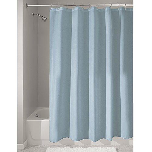 iDesign Mildew-Free Water-Repellent Fabric Shower Curtain, 180 x 180 cm, slate blue