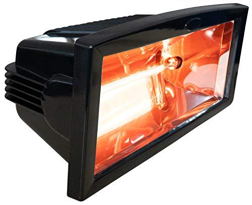 Brubaker - Estufa por Infrarrojos IP54, 1300 W, eléctrica, Color Negro