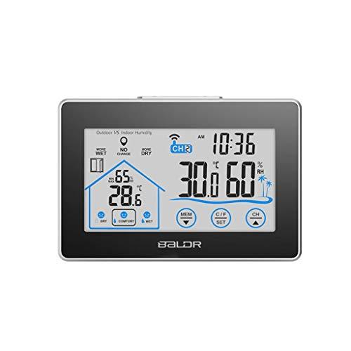 Liutao Store - Thermometer & Messinstrumente LCD-Touchscreen-Funkwetterstation digitaler Hygrometer-Feuchtetemperatursensor für Innen- und Außenbereich (Color : Black, Größe : 3.77 * 5.59inch)