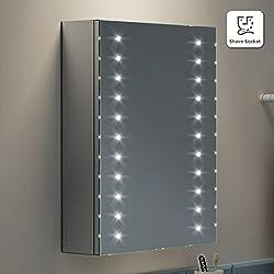 soak Armario de baño de 450 x 600mm con espejo iluminación LED y entrada para máquina de afeitar