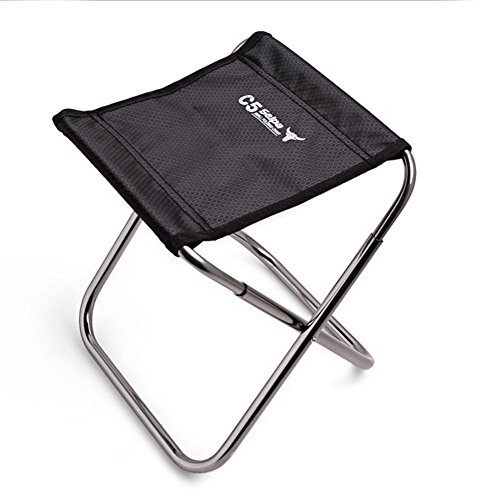 Keptfeet Aluminum Folding chair outdoor Camping chair lightweight Fishing chair portable Picnic chair Cloth bag package Black
