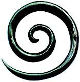 Chic-Net Tribal Buffalo Horn Piercing schwarz XL-Spirale Plug Expander Ohrhänger Ohrstecker 06 mm