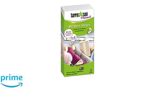 Terrasan Home Motten Strip Schutz f/ür Textilien im Kleiderschrank Geruchlos 6 Monate Wirkung 2 Strips