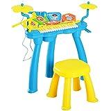 HOMCOM Set Tamburo e Pianoforte Multifunzionale Giocattolo Luminoso con Sgabello Microfono Bambini