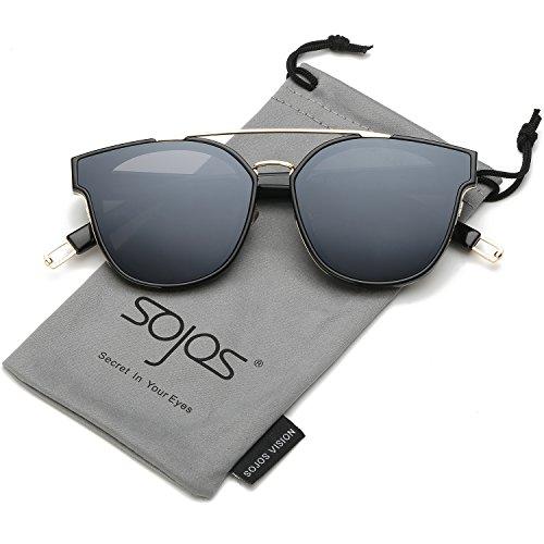 SOJOS Schick Klassische Retro Doppelt Metallbrücken Rechteckig Sonnenbrille Damen Herren SJ2038 mit Gold Rahmen/Grau Linse