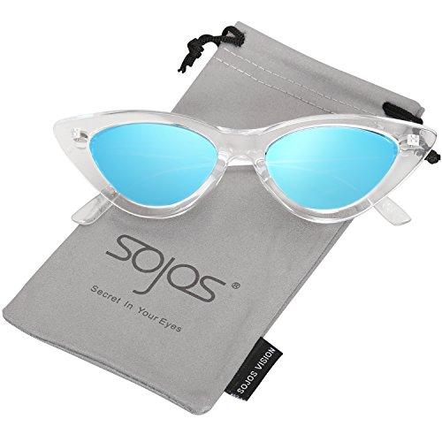 SOJOS Katzenauge Rahmen Mode UV-Schutz Damen Sonnenbrille Cat Eye SJ2044 mit Klar Blau