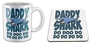 Daddy Shark Do Doo Do Funny Novelty Gift Mug & Glossy Mug Coaster