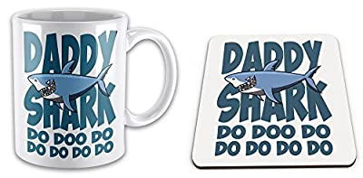 Daddy Shark Do Doo Do Funny Novelty Gift Mug & Glossy Mug Coaster