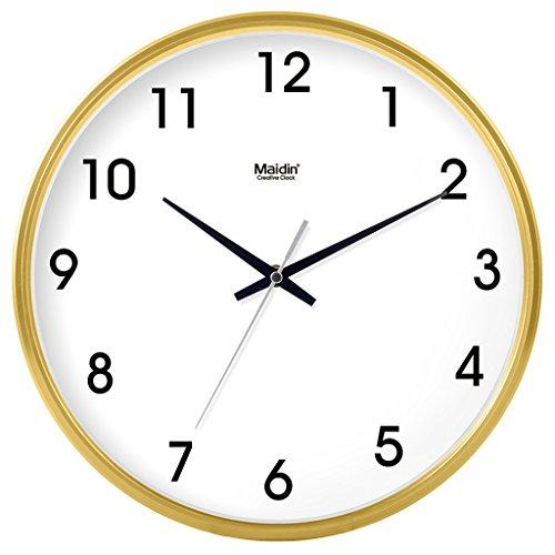 Waduo moderno elegante elegante colorato silenzioso non ticchettio da cucina/soggiorno orologio da parete (colore : giallo, dimensioni : 16 inches)