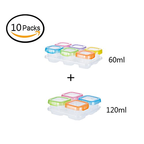 JLRQY Baby Food Storage Container Blöcke Gefrierfach Fach Speicher Wiederverwendbare Box, Ideal Für Kindertagesstätte,10Pack