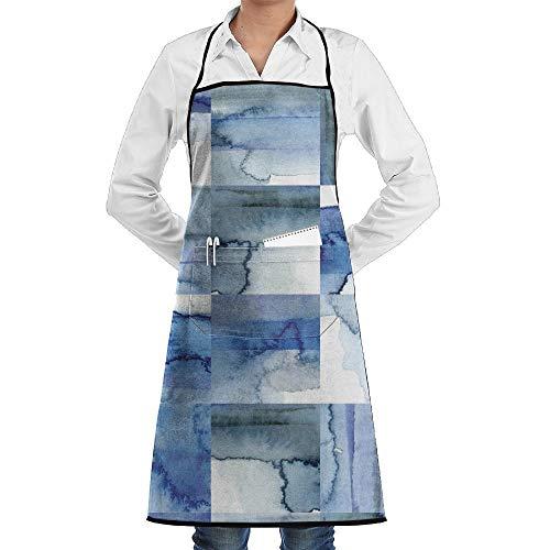 deyhfef Unisex Novel Blue and White Cobalt Watercolor Tiles Chef Apron with Pockets Commercial Restaurant and Home Kitchen Apron for Chef,Baker,Servers,Waitress,Waiter,Craftsmen (Cobalt-server)
