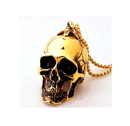 Metall-Halskette, große, schwere Totenkopf Anhänger Totenkopf Armband Punk Gold mit Totenkopf für Herren Männer Biker Skull - Metall Schädel Biker Kostüm