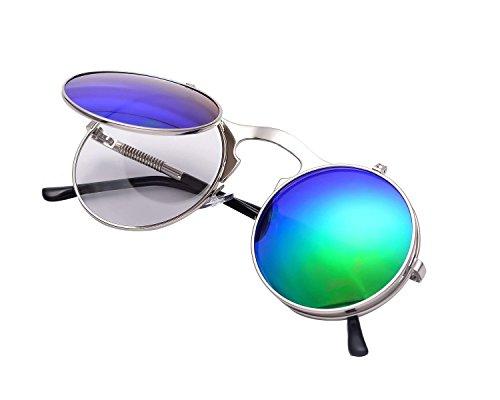 Runde Steampunk Polarisierte Sonnenbrille Metall Rand Rahmen Flip up Linse für Herren Damen UV400 (A/Silber/Grün, Nicht polarisiert)