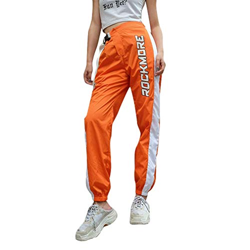 Hip Hop Hosen Streetwear Frauen Street Style Hosen gespleißt hohe Taille Sport Hosen ()