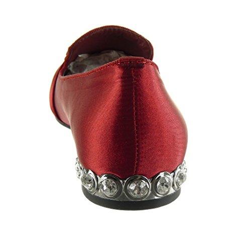 Angkorly - Scarpe da Moda Mocassini slip-on donna fibbia gioielli borchiati Tacco a blocco 1.5 CM Rosso