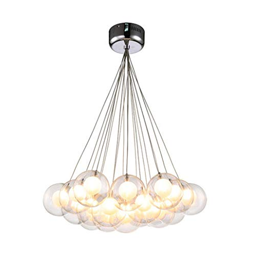 Modern Einfach Pendelleuchte LED Esstisch Hängeleuchte Rund Doppelschicht Glas Pendellampe Höhenverstellbar 19*G4 Creative Design Anhänger für Wohzimmer Schlafzimmer Warmweiß -