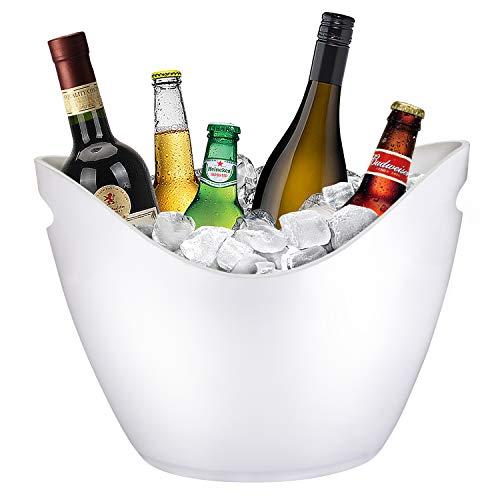Yobansa 8L Eiseimer Champagner Eimer,EIS Eimer,Weinkühler Sektkühler,große Eiskübel, Küchenobst und Gemüse Vorratsbehälter Behälter(White)