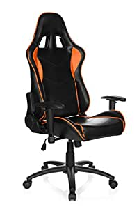 HJH Office, 729160, Gaming Racing  Chair, Executive chair, swivel chair for home and office, SPIELBERG III, black/orange, faux leather, high ergonomic backrest, contoured sport seat, racing look, metal frame, reclining seat 180 degrees, 3-d adjustable armrests,
