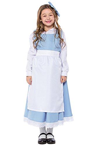 Kinder Mädchen Dienstmädchen Zimmermädchen Cosplay Kostüm mit Schürze Blau