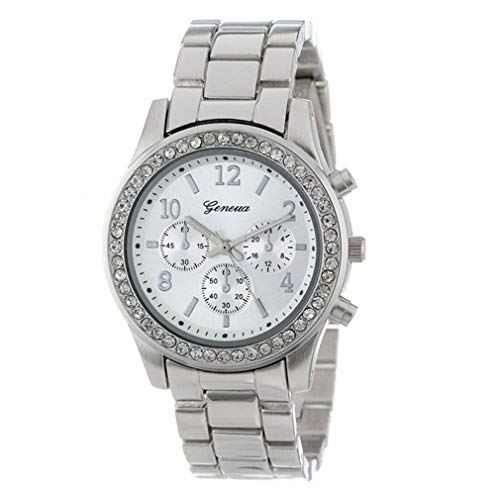 Scpink 2019 orologio di moda tre occhi ginevra trapano intarsiato lega striscia di acciaio orologio al quarzo da donna (argento)
