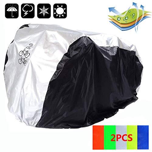 Vanhom Regenschutz für Fahrräder Fahrradabdeckung Fahrradhüllen Wasserdicht Fahrradschutzhülle Schutzhülle Universal Fahrrad Regenschutz Schutzbezug für 2 Fahrräder (Schwarz + Schwarz)