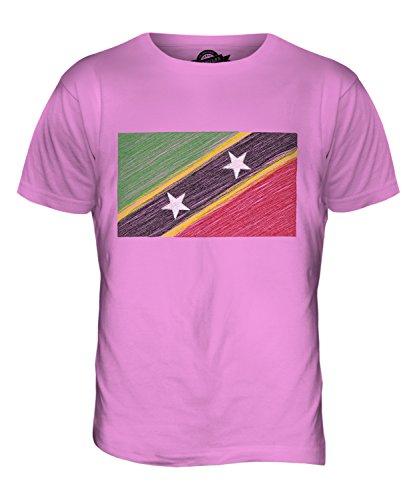 CandyMix St. Kitts Und Nevis Kritzelte Flagge Herren T Shirt Rosa