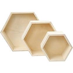Boîtes de rangement, h: 14,8+19+24,2 cm, profondeur 10 cm, triplex, hexagonales, 3pièces