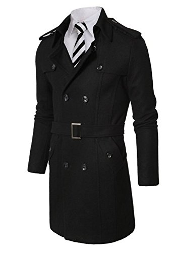 Herren Mid-Long Knopfleiste Kragen Double Breasted Slim Fit Winter Wolle Mäntel(L(TAG:XXL),schwarz) (Wolle Kragen Double Breasted)