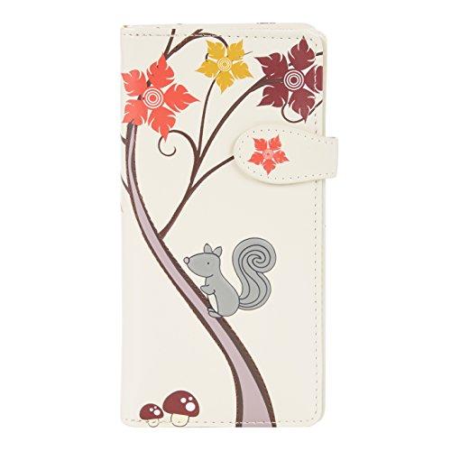 Shagwear portafoglio per giovani donne , Large Purse : Diversi colori e design : scoiattolo beige/ Squirrel and Friends