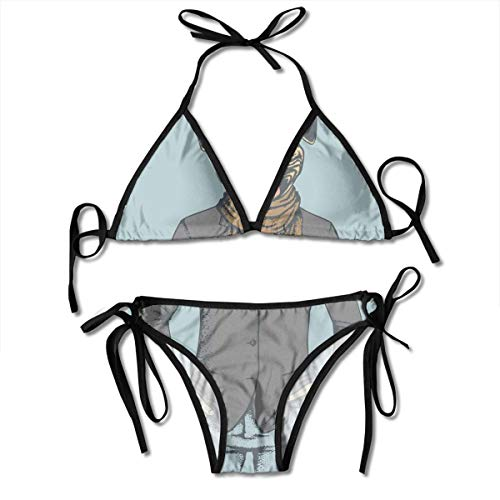 Adjustable Bikini Set Halter Ladies Swimming Costume, Abstract Image of A Dog with Human Proportions with Jacket Scarf and Jeans Absurd,Halter Beach Bathing Swimwear -