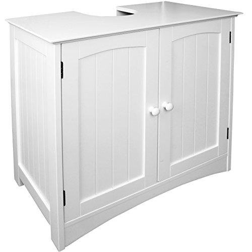Anaterra Waschbeckenunterschrank weiß, Bad-Unterschrank, (B/H/T) 60 x 60 x 30 cm, Verstellbarer Einlegeboden & Siphon Aussparung - perfekt für Badezimmer im Landhausstil -