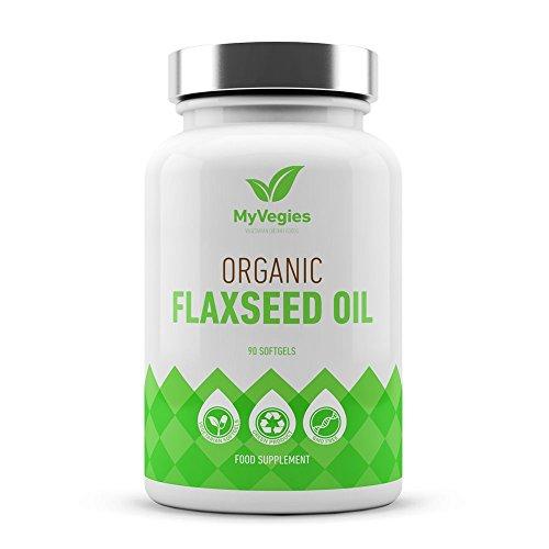 MyVegies Flaxseed Oil: Suplemento 100% vegano en cápsulas blancas. ¡Fuente vegetariana de omega 3 para optimizar el funcionamiento cardiovascular y la salud de la piel, las uñas y el cabello! -30 días