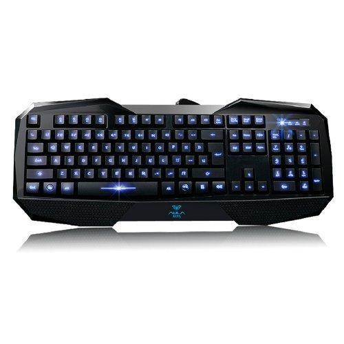 Andget AULA Gaming Keyboard Tastatur - verkabelt BEFIRE Anti-Interferenzen wasserfest USB Schnittstelle blaue Blitz Brief