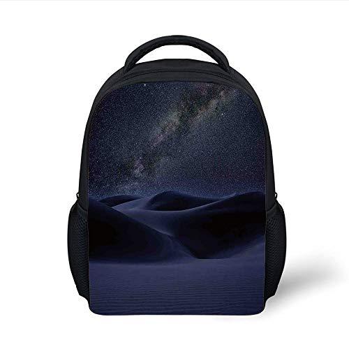 Kids School Backpack Space,Desert Sand Dunes in Milky Way Stars at Dark Solar Celestial Reflection Over Earth Picture,Blue Plain Bookbag Travel Daypack - Dune Gift Set