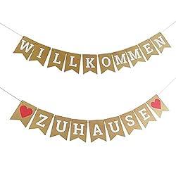 24 St/ück Champagner FACHY Willkommen Zuhause Banner Welcome Home Ballon mit Stern Pailletten Luftballons f/ür Hause Familie Partei Dekoration