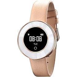 QAR Smart Armband Frauen Gesundheit Herzfrequenz Blutdruck Schlaf Multifunktions Wasserdichte Paar Bluetooth 3 Sportuhr Smartwatch (Farbe : Leather Belt+Gold)
