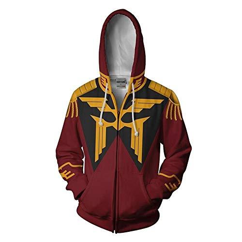 LHHJ Unisex Herren 3D Digitaldruck Kapuzenpullover Kapuzen Realistic Anime Hoodies Zipper Strickjacke Motor Warrior Gundam Rot Sweatshirt XS