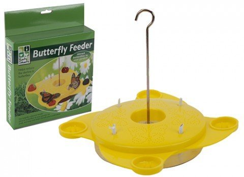 Yellow Butterfly Feeding Station Pollination Nature Garden Outdooor Feeder Food.