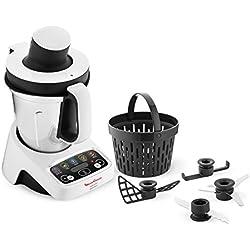 Moulinex hf4041VOLUPTA Robot de cuisine multifonction avec cuisson, 5programmes automatiques pour pâtes, plats à vapeur, vellutate et dessert, 1000W, capacité 3L, 100magnifiques recettes incluses