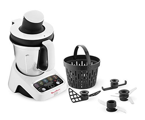 Moulinex hf4041volupta Robot de cocina multifunción con cocción, 5programas automáticos para pasta, platos al vapor, vellutate y postre, 1000W, Capacidad 3L, 100deliziose recetas incluidas