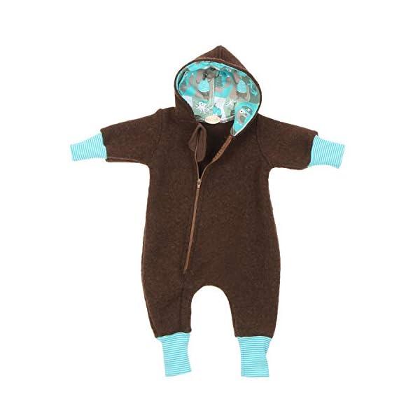 Lilakind Mono para bebé, Mono con Capucha, marrón Marino, Talla 56/62-116/122 – Fabricado en Alemania. 1