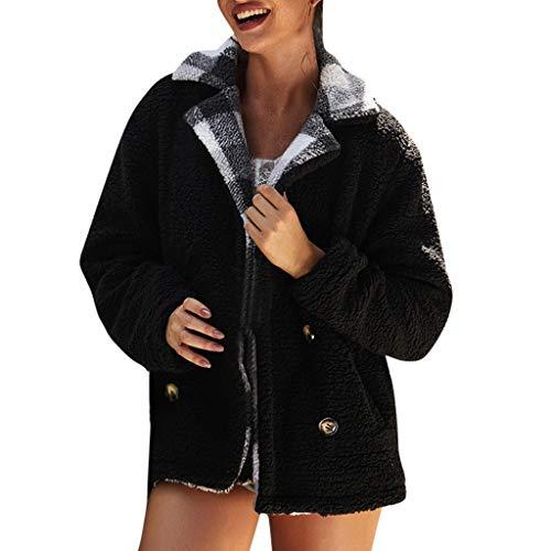 Splrit-MAN Damen Mantel Einfarbig warme Jacke Lose Langarm Outwear Tasche Reißverschluss Winterjacke Flauschige Mantel Fleece Fell Sweatshirt Mode Kurz Coat Streetwear