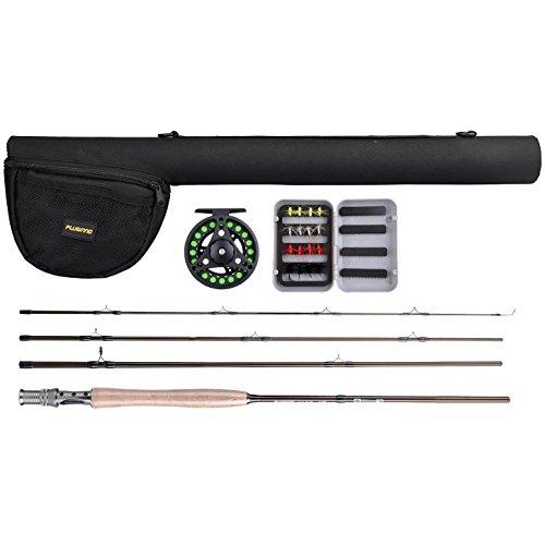 PLUSINNO® 4 pezzi canne set set di pesca per la pesca a mosca con canna da mosca, bobina, linea, volare e tasca